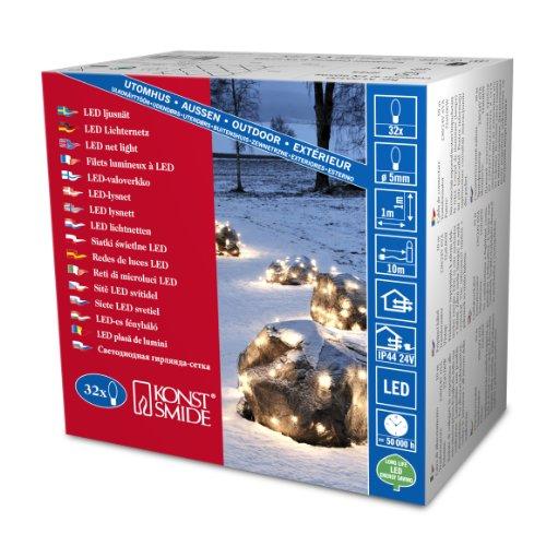 Konstsmide 3748-100 LED Lichternetz / für Außen (IP44) /  24V Außentrafo / 32 warm weißen Dioden / schwarzes Kabel