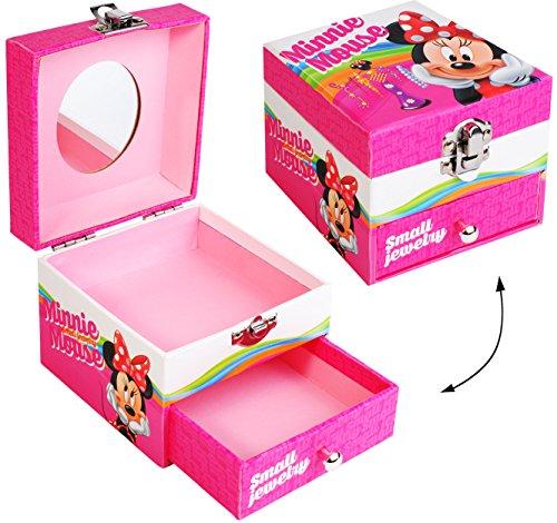 alles-meine.de GmbH Schmuckkasten - mit Schubladen + Spiegel -  Disney - Minnie Mouse  - Utensilo - Kinderzimmer - z.B. für Schmuck - Schmuckschatulle / Dose - Schmuckbox Schmu.. (Spielzeug-box Disney Minnie Mouse-großes)