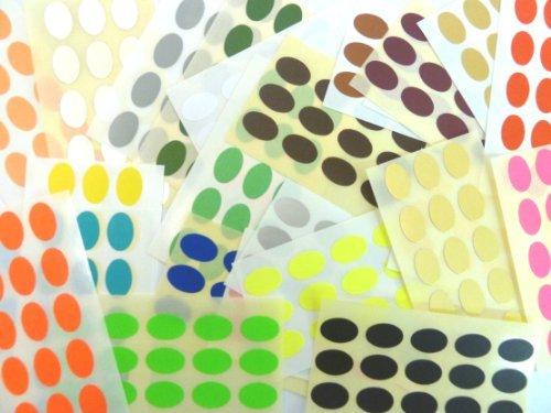 420 etiquetas, 15x10mm ovalado, COLORES SURTIDOS Code PEGATINAS, autoadhesivo Adhesivo Etiquetas Colores