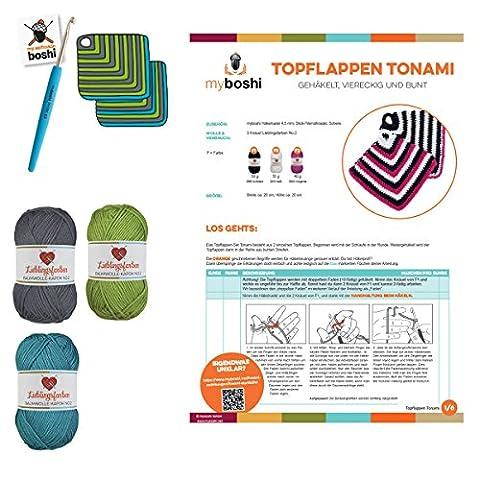 Topflappen einfach häkeln: myboshi Häkel-Set mit 3x 50g Wolle Lieblingsfarben No.2 (15% Kapok, 85% Baumwolle) - Häkelnadel 4,5mm, Häkel-Anleitung, selfmade Label (Titangrau Limettengrün
