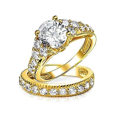 Bling Jewelry Parure Nuptiale en Argent Massif Plaquée Or avec Bague de Fiançaille Zircones Découpe Ronde