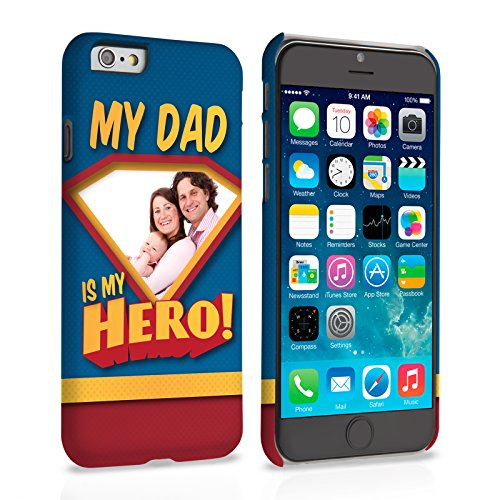 Caseflex iPhone 6 / 6S Coque Rigide Bleu Design, Mon Papa, Mon Héro Personnalisable