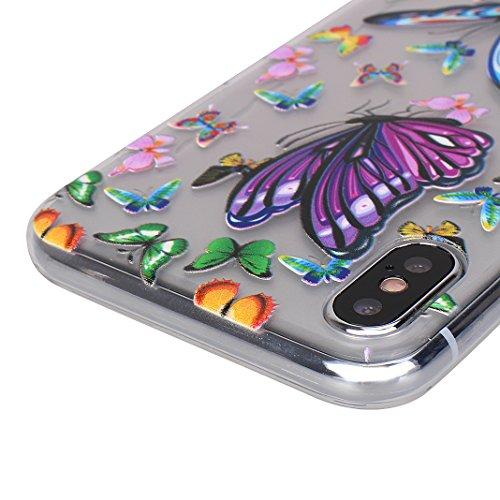 iPhone X Hülle, Asnlove 2 Pack Case Silikon TPU Schale Transparent Durchsichtig [Ultra Dünn] Klar Weiche Bumper-Style Handyhülle Premium Schutzhülle für iPhone X / iPhone 10 5.8 Zoll 2017 Case Cover - Style-11