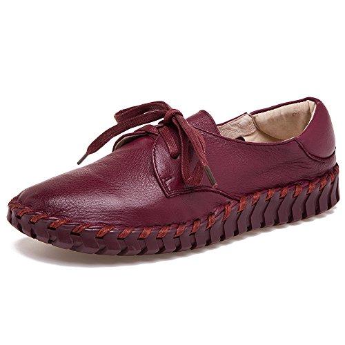 Shenn Donna Lavoro Spazio Comfort Casuale cima Qualità Pelle Moda Sneaker Borgogna