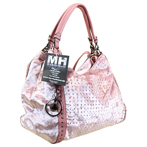 Damen Shopper Schultertasche it-bag Beuteltasche Nieten Samt Braun oder Rosa, Farbe:Braun Braun