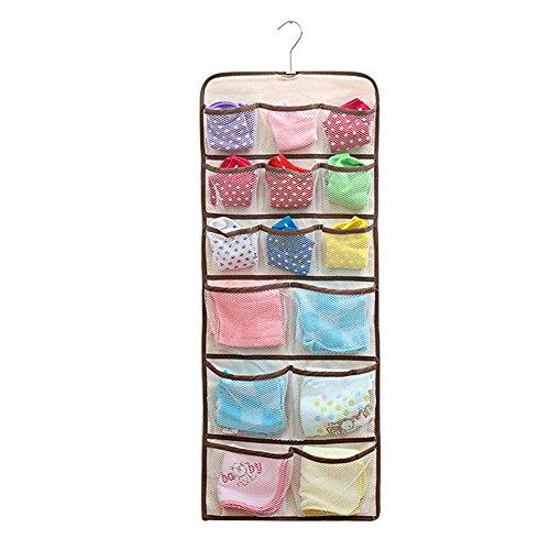 ZYHstore 22 Taschen Doppelseitig Kleiderschrank Tür Mauer Hängend Tasche Schrank Lagerung Veranstalter Aufhänger Halt Socken, BH, Unterwäsche, Kleider, Strümpfe, Toilettenartikel, Baby Kinderzimmer, Haushalt und Kinderzubehör