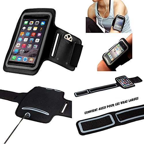 MP-DE LG Q6 Neopren Sportarmband für Handy (Smartphone) Running Footing Trekking Lauf Scratch Adjustable - Sports Activity - [schwarz]