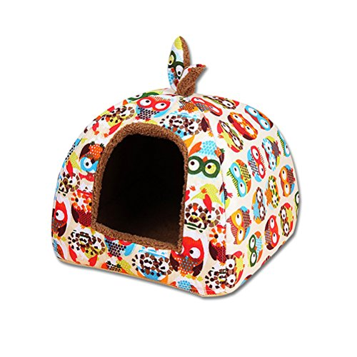 UEETEK Hundhaus, Katze Hund Zelt tragbar warm Hundehöhle Hundebett für Indoor Outdoor Größe L (Eule Muster)