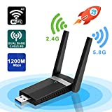 sumgott Adattatore Antenna USB WiFi 1200Mbps Wireless Chiavetta con Dual Band (5.8G/867Mbps+2.4G/300Mbps), Wireless Adapter WiFi Dongle per Windows XP/7/8/10, Mac OS, Linx2.6X