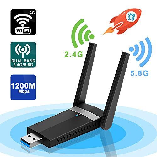 Sumgott Antena WiFi,1200Mbps WiFi USB Adaptador 5.8Ghz/2.4Ghz