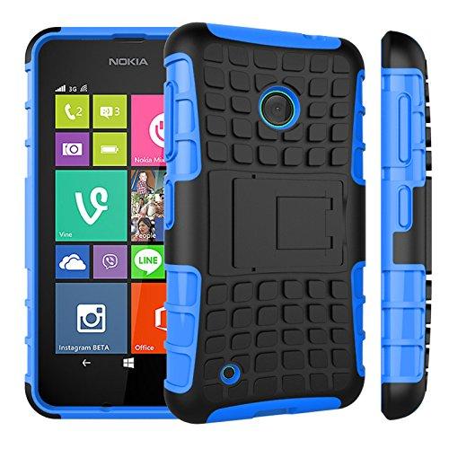 Qiaogle Telefon Case - Shockproof TPU + PC Hybrid Ständer Schutzhülle Case für Nokia Lumia 530 (4.0 Zoll) - HH02 / Blau (Nokia Lumia 530 Case Hybrid)