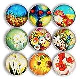 Cosylove Pack-9 Blume Kühlschrankmagnete, Kristallglas Kühlschrankmagnete für Büroschränke, Whiteboards, Fotos, schöne dekorative Magnete für Urlaub Geschenk, dekorieren Zuhause (Upgrade Blume)