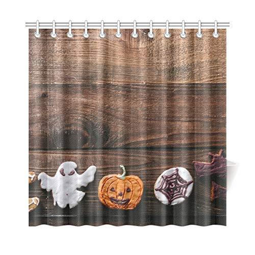 ad Vorhang Halloween Cookies Auf Holz Rustikale Küche Polyester Stoff Wasserdicht Duschvorhang Für Badezimmer, 72X72 Zoll Duschvorhang Haken Enthalten ()