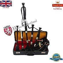 Gran Highland gaita palisandro plateado Plain Mounts gaita con Tutor libro y accesorios/escocés gaita
