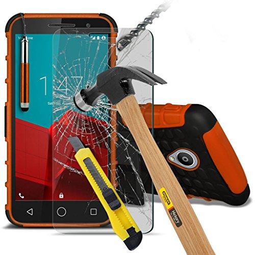 Vodafone Smart prime 6 Funda anti golpes - cubierta robusta resistente de alta calidad reforzada a prueba de golpes resistente a los impactos Executive con Protector de Pantalla de Templado / Tempered Glass y pen retráctil Stylus - Naranja - - LOLO®
