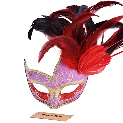 Preisvergleich Produktbild Coofit hübsche Prinzessin venezianische Maske bunte Gemälde griechischer Roman mit Feder für Frau
