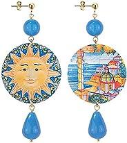 in Lebole Collezione The Circle DOR111 Positano Sole Orecchini da Donna in Ottone Pietra Azzurra