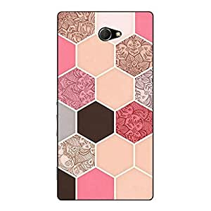 Jugaaduu Pink Hexagons Pattern Back Cover Case For Sony Xperia M2 Dual