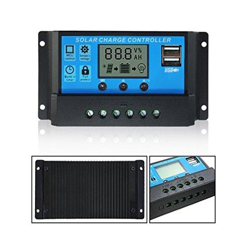 MOHOO 20A 12V-24V Solarladeregler Temperatur Kompensation Überladung Schutz LCD Display Solarladeregler Mit USB Geeignet für Haus, Industrie, Gewerbe, Boot, Auto usw.#