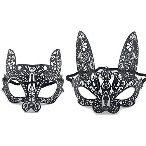 VJUKUBWINE Pack Von 2 Sexy Frauen Schwarze Katze Und Kaninchen Vintage Maskerade Masken Masken Venezianischen Augenmaske-Halloween Karneval Party Maske Halloween Frauen Cosplay Mode - Katze Schwarze Maske Maskerade