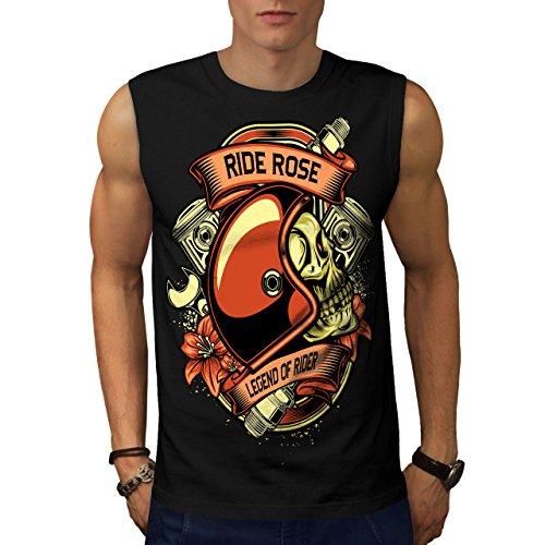 wellcoda Reiten Rose Legende Motorradfahrer Männer 5XL Ärmelloses T-Shirt (Ärmellos Legende)