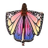 MRULIC Erwachsene Schmetterlingsflügel Damen Kostümzubehör Weihnachten Trenchcoat Im Freien Drachen Fliegen Mantel Schal Schals Damen Nymphe Pixie Poncho Karneval heißen Jacken(C-Pink,168 * 135CM)
