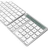 Cateck 2 en 1 clavier et calculatrice Bluetooth intelligent Combo sans fil en aluminium à 28 touches pour Mac et PC, construit double pile au lithium rechargeable intégrée