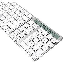 Teclado & Calculadora en Aluminio Bluetooth 2-en-1 de 28 teclas para Mac y PC, con pilas recargables integradas de litio Cateck