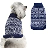HOMIMP Argyle Dog Sweater - Warm Jumper Sweater Winter Clothes Puppy Soft Coat Dogs Navy Blue XSmall
