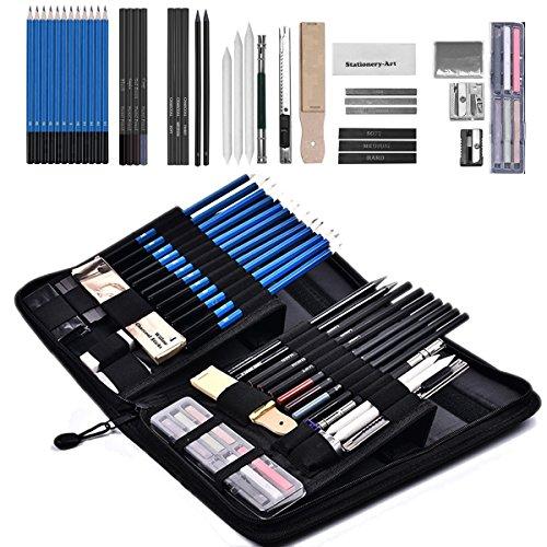 33/44/48 Stück Skizzierstifte Set SANVA Bleistifte für Skizzieren und Zeichnen Profi Art Set mit...