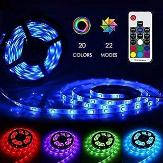 LED Strip 5M GS Adapter, Zknen® LED Licht Streifen RGB 150LEDs Selbstklebend, Fernbedienung Led Stripes Lichtband Leiste Band Beleuchtung mit 20 Farben 22 Beleuchtungsmodi RF Fernbedienung