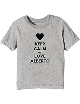 Keep Calm And Love Alberto Bambini Unisex Ragazzi Ragazze T-Shirt Maglietta Grigio Maniche Corte Tutti Dimensioni...