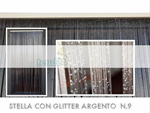 PVC-Türvorhänge Modell STELLA – Aluminiumträger - Made in Italy – Fliegenvorhang (100X220, Silber n.9)