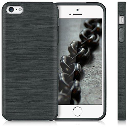 kwmobile Hülle für Apple iPhone SE / 5 / 5S - TPU Silikon Backcover Case Handy Schutzhülle - Cover Metallic Blau Brushed Aluminium Anthrazit Transparent