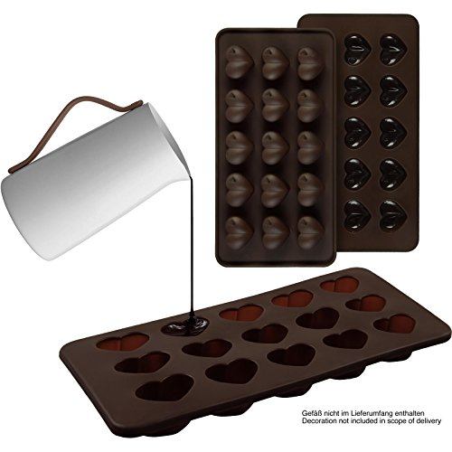 2er Set Silikon-Pralinenformen (Herz) - Silikonform (BPA-frei) für Schokolade