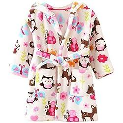 ECHERY Unisexe Filles Garçons à Capuche Peignoir Doux Coral Fleece Pyjamas Enfants Chemise de Nuit Robe de Chambre Vêtements De Nuit Taille 120 Multicolore