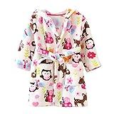 ECHERY Unisex Kinder Mädchen Jungen Kapuzen-Bademantel Weiche Coral-Fleece-Schlafanzug Morgenmantel Nachtwäsche Pajamas Größe 100 Mehrfarbig