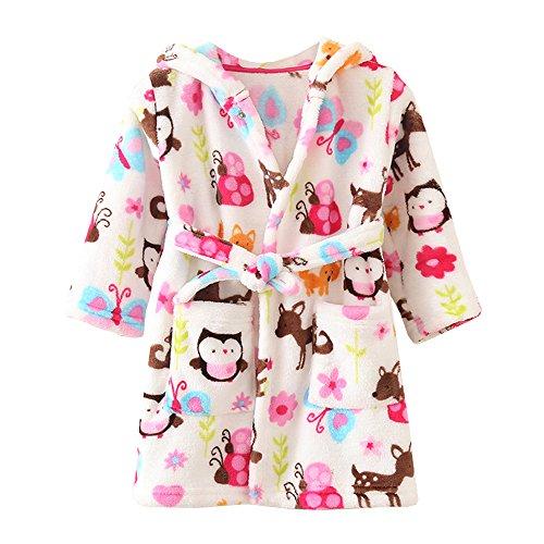 ECHERY Unisex Kinder Mädchen Jungen Kapuzen-Bademantel Weiche Coral-Fleece-Schlafanzug Morgenmantel Nachtwäsche Pajamas Größe 100 Mehrfarbig (Baby-kleidung Japanische)