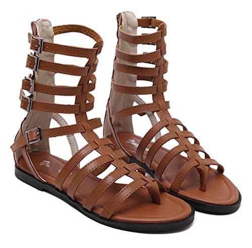 WZG Der neue dünner Streifen Zehenstegsandale Xia Jiping Unterseite Schuhe römische Sandalen kühle Stiefel Hohlzylinder in der freien Natur Brown