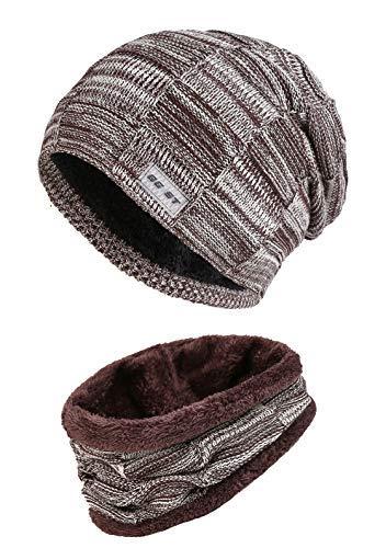 GG ST Beanie Mütze Schal Set Unisex Winter Knit Warmen Hut Skimütze Slouchy Strickmütze Skull Cap Soft Knit Schal