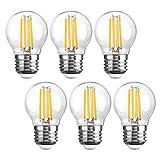 Glühbirnen E27 LED Vintage Retro 4Watt, SHINE HAI 6er Pack LED Birne Set E27 Tropfen Leuchtmittel erzetzt 40Watt Filament Lampe, 4000K Kaltweiss, G45, 470lm, Edison Schraube Golf Ball Klarglas Birnen