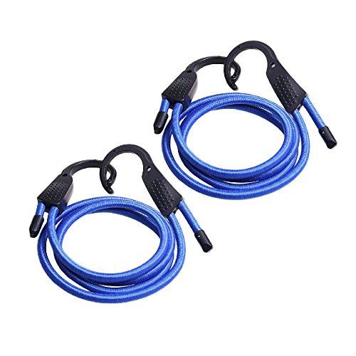YULAN Baggage Ropes Línea fija para equipaje Correas elásticas ajustables Correas para equipaje Cuerdas Cinturones Clotheslines con ganchos para automóvil. (Azul1.5M)