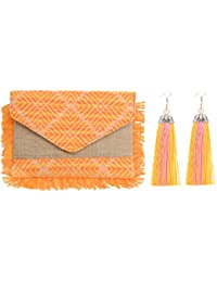 STRIPES PRESENTS Women's Day Special Combo Offer Of Orange Organic Jute Clutch Bag With Silk Tassel Long Earrings.
