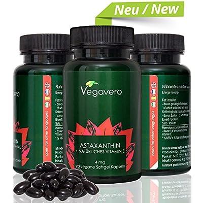NEW: Premium Natural Astaxanthin (Hawaiian) + Vitamin E | 90 Vegan Softgels | Powerful Antioxidant Combination | Sourced from Haematococcus Pluvialis Algae | VEGAN by Vegavero by Vanatari International GmbH