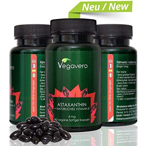 Astaxantina 100% Naturale Vegavero | 90 Capsule Softgel 4mg Astaxantina + 40 mg Vitamina E e Olio di Oliva | Antiossidante – Articolazioni – Memoria | Vegan – No Glutine | Analisi a disposizione