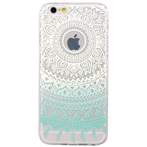 Coque iPhone 7 Plus Housse étui-Case Transparent Liquid Crystal Fleur en TPU Silicone Clair,Protection Ultra Mince Premium,Coque Prime pour iPhone 7 Plus(2016)-Blanc henne-mandala-mentheblanc