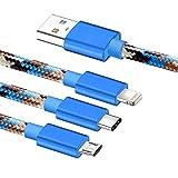 Multi Ladegerät, j2cc 3,3ft Nylon geflochten 3in 1Multi Ladegerät Kabel mit 8Pin Lightning, USB C, Micro USB Ladegerät-Anschluss für Android und iPhone Smartphones, iPad Tablets