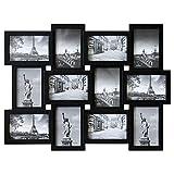 Lagerräumung - Bilderrahmen 60x45x2cm für 12 Bilder Multibilderrahmen 10x15cm Schwarz Fotorahmen Bildergalerie