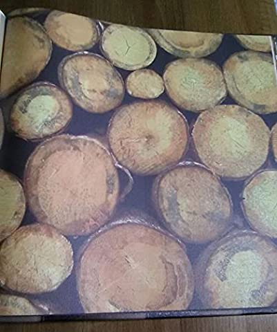 Wallpaper Faux Wood Logs Design in Rustic Shabby Chic Country Italian Paper Wallpaper Lovely Home 4085.