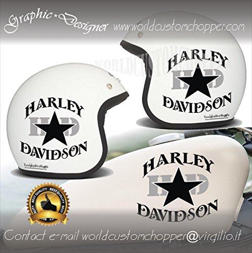 2 ADESIVI DECAL STICKERS STELLA HARLEY DAVIDSON DA CASCO & SERBATOIO MOTO CUSTOM (NERO)